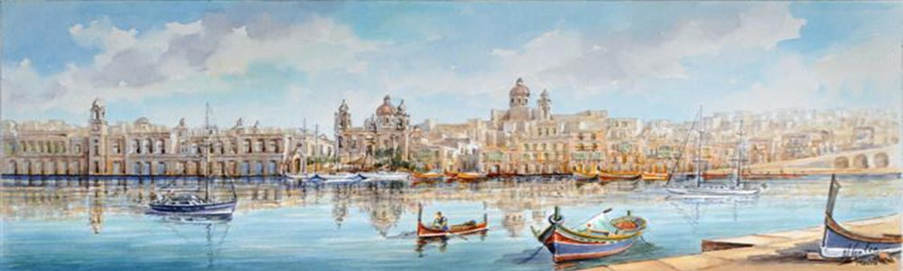 Vittoriosa Grand Harbour Malta Watercolor E.Galeja