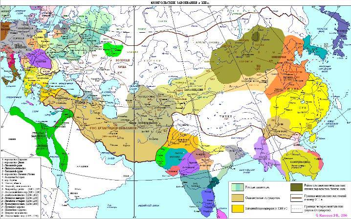 The Mongol invasion in XII century