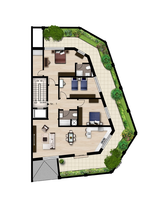 PerLaMare Madliena apartments Groundfloor plan